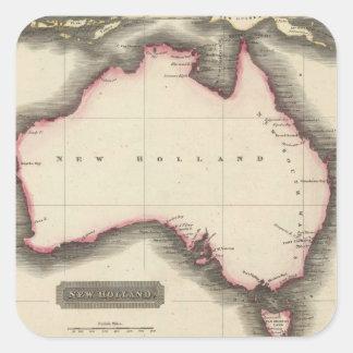 Mapa del vintage de Australia (1817) Pegatina Cuadrada