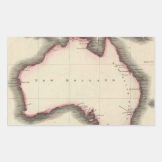 Mapa del vintage de Australia (1817) Pegatina Rectangular