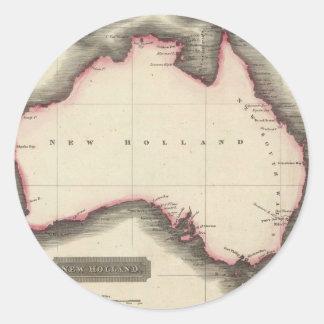 Mapa del vintage de Australia (1817) Pegatina Redonda
