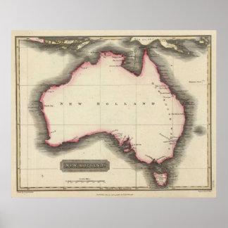 Mapa del vintage de Australia (1817) Póster