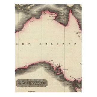 Mapa del vintage de Australia (1817) Tarjetas Postales