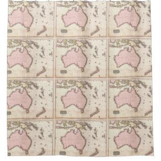 Mapa del vintage de Australia (1818) Cortina De Baño