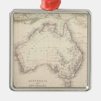 Mapa del vintage de Australia (1848) Adorno Navideño Cuadrado De Metal