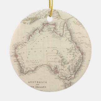 Mapa del vintage de Australia (1848) Adorno Navideño Redondo De Cerámica