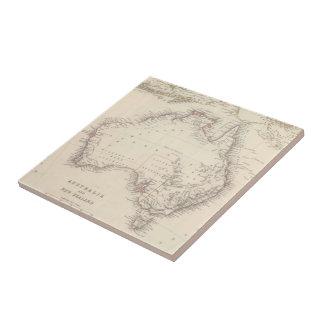Mapa del vintage de Australia (1848) Azulejo Cuadrado Pequeño
