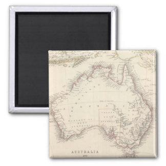 Mapa del vintage de Australia (1848) Imán Cuadrado