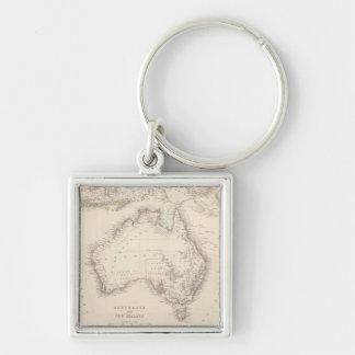 Mapa del vintage de Australia (1848) Llavero Cuadrado Plateado