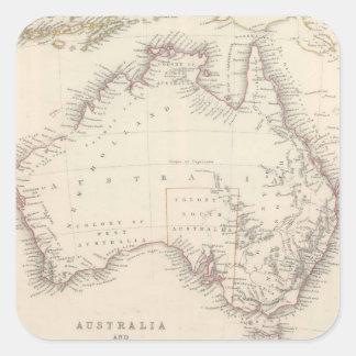 Mapa del vintage de Australia (1848) Pegatina Cuadrada