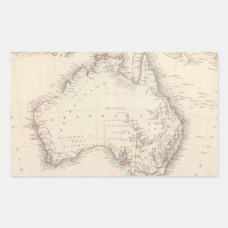 Mapa del vintage de Australia (1848) Pegatina Rectangular