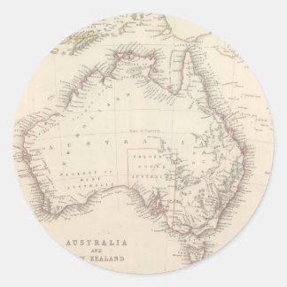 Mapa del vintage de Australia (1848) Pegatina Redonda