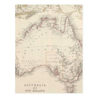 Mapa del vintage de Australia (1848) Postal