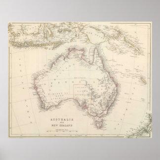 Mapa del vintage de Australia (1848) Póster