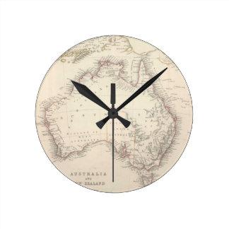 Mapa del vintage de Australia (1848) Reloj Redondo Mediano