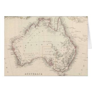 Mapa del vintage de Australia (1848) Tarjeta De Felicitación