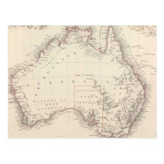 Mapa del vintage de Australia (1848) Tarjetas Postales