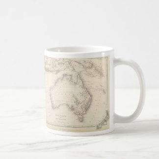 Mapa del vintage de Australia (1848) Taza Básica Blanca