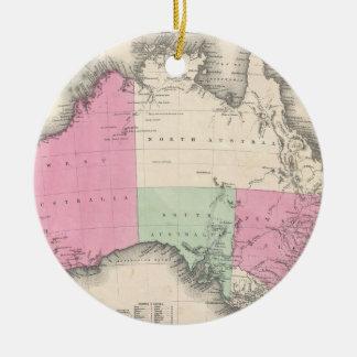 Mapa del vintage de Australia (1862) Adorno Navideño Redondo De Cerámica