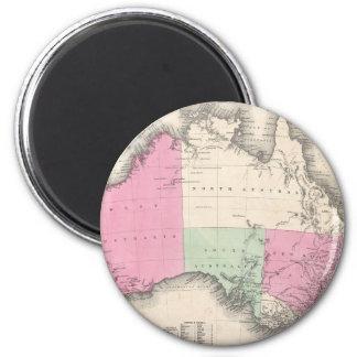 Mapa del vintage de Australia (1862) Imán Redondo 5 Cm