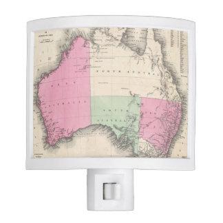 Mapa del vintage de Australia (1862) Lámpara De Noche