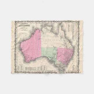 Mapa del vintage de Australia (1862) Manta De Forro Polar