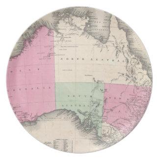 Mapa del vintage de Australia (1862) Platos