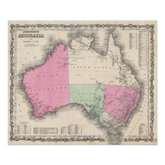 Mapa del vintage de Australia (1862) Póster