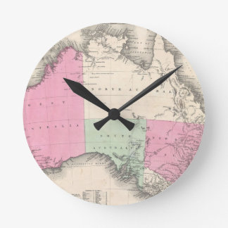 Mapa del vintage de Australia (1862) Reloj Redondo Mediano