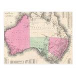 Mapa del vintage de Australia (1862) Tarjeta Postal