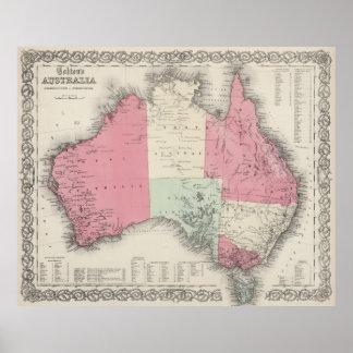 Mapa del vintage de Australia (1865) Póster