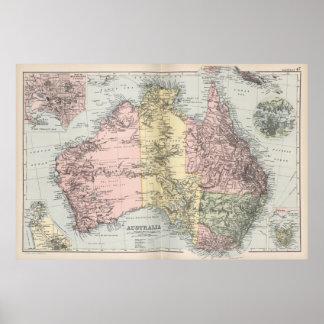 Mapa del vintage de Australia (1891) Póster