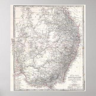 Mapa del vintage de Australia del este (1876) Póster
