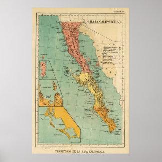 Mapa del vintage de Baja California (1899) Póster
