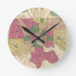 Mapa del vintage de Baltimore (1873) Relojes De Pared