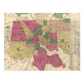 Mapa del vintage de Baltimore (1873) Postales