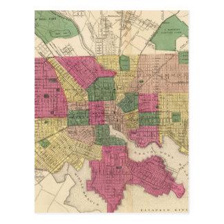 Mapa del vintage de Baltimore (1873) Postal