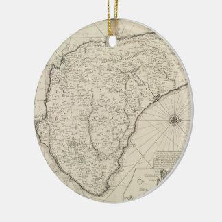 Mapa del vintage de Barbados (1725) Adorno Navideño Redondo De Cerámica
