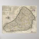 Mapa del vintage de Barbados (1736) Póster