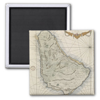 Mapa del vintage de Barbados (1758) Imán Cuadrado