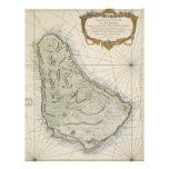 Mapa del vintage de Barbados (1758) Plantilla De Membrete