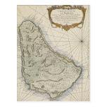 Mapa del vintage de Barbados (1758) Postal