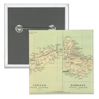 Mapa del vintage de Barbados y de Trinidad y Chapa Cuadrada 5 Cm