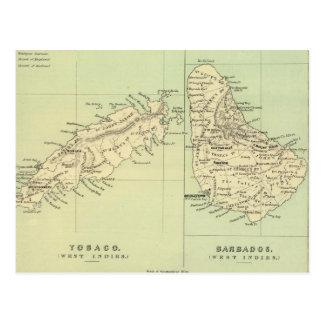 Mapa del vintage de Barbados y de Trinidad y Tarjetas Postales