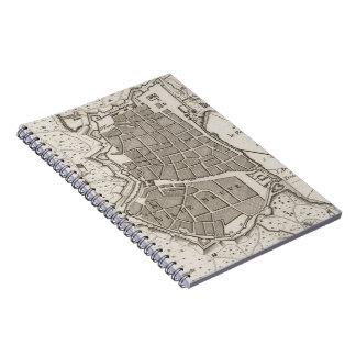 Mapa del vintage de Barcelona España (1764) Spiral Notebook