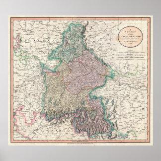 Mapa del vintage de Baviera Alemania (1799) Posters