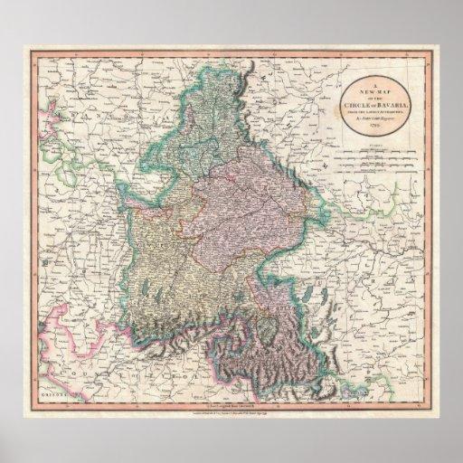 Mapa del vintage de Baviera Alemania (1799) Póster