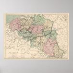 Mapa del vintage de Bélgica (1873) Impresiones
