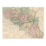Mapa del vintage de Bélgica (1873) Postal