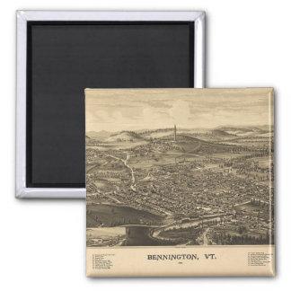Mapa del vintage de Bennington histórico, Vermont Imán Cuadrado