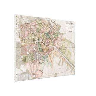 Mapa del vintage de Berlín (1811) Impresiones En Lienzo Estiradas