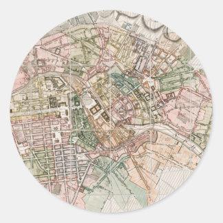 Mapa del vintage de Berlín (1811) Etiquetas Redondas